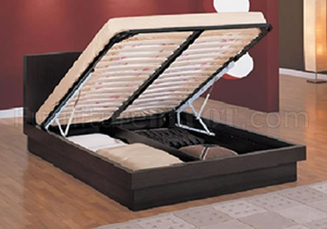 Wenge Finish Modern Platform Bed With Pull Up Storage