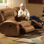 Saddle Faux Leather Dawson Reclining Sofa Loveseat Set