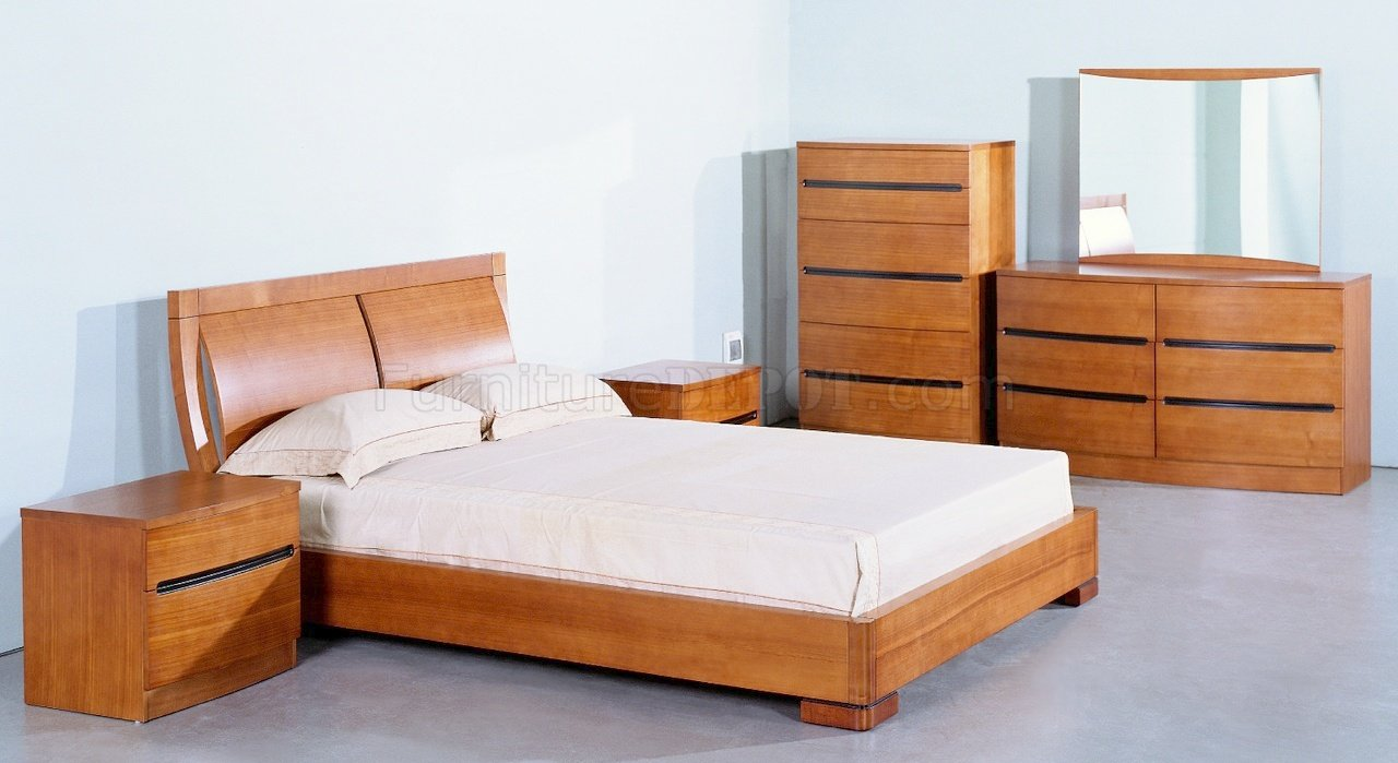 Teak Semi Gloss Finish Elegant Bedroom w Options