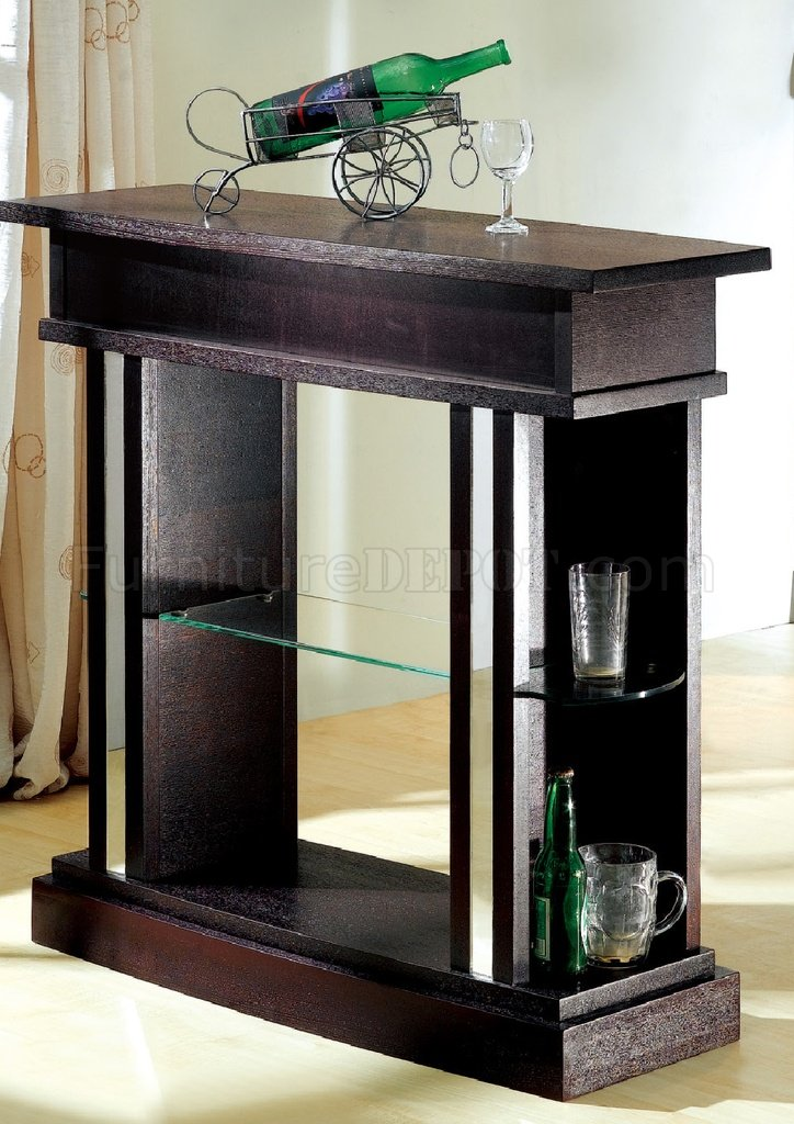 Wenge Finish Contemporary Bar Table W Display Glass Shelves
