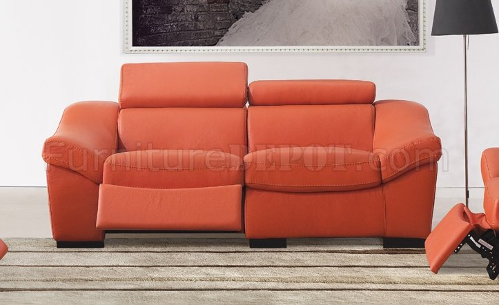 8021 Reclining Sofa In Orange Full Leather By ESF WOptions