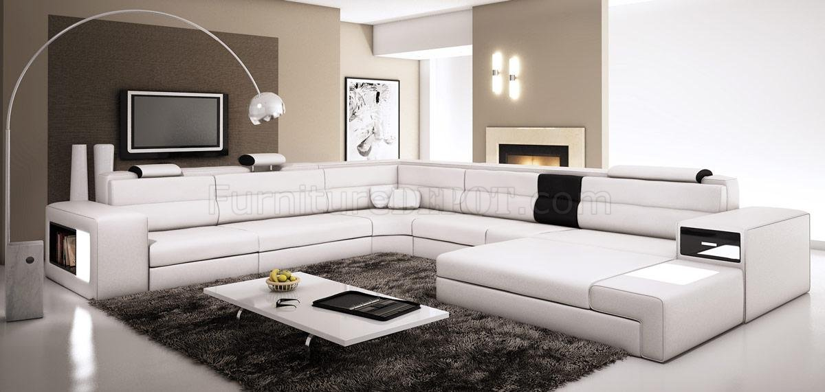 Polaris Sectional Sofa In White Bonded Leather By VIG