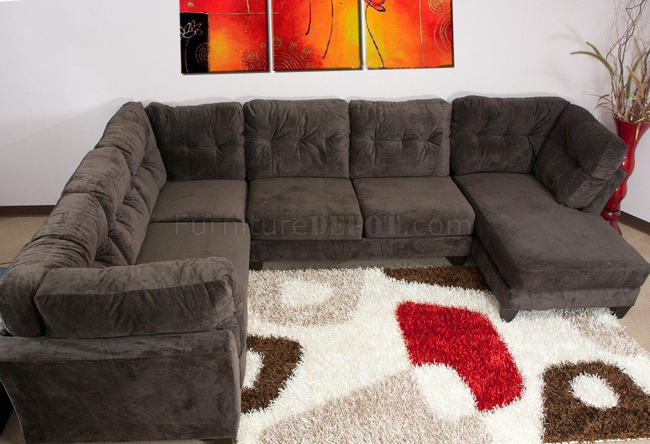 Mocha Brown Suede Fabric Modern 3PC Sectional Sofa