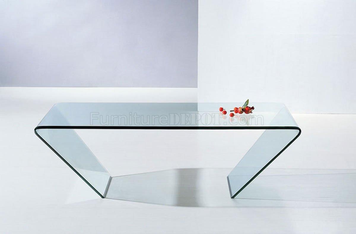 519 clear glass modern coffee table w