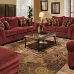 Burgundy Fabric Sofa Loveseat Set W Graphic Throw Pillows