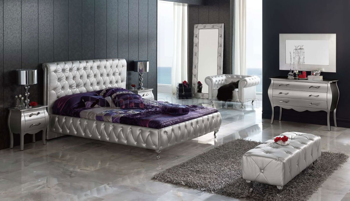 silver tufted leatherette 9pc king size modern bedroom set