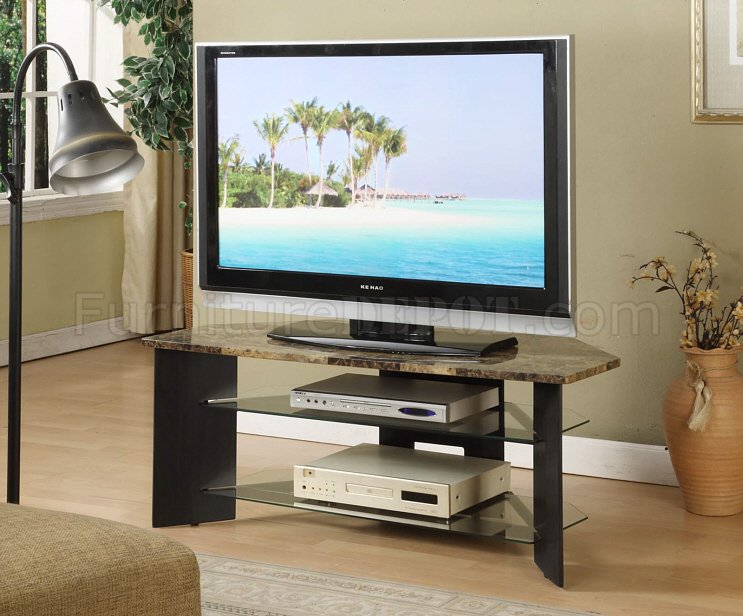 Faux Marble Top Amp Espresso Wood Finish Modern TV Stand