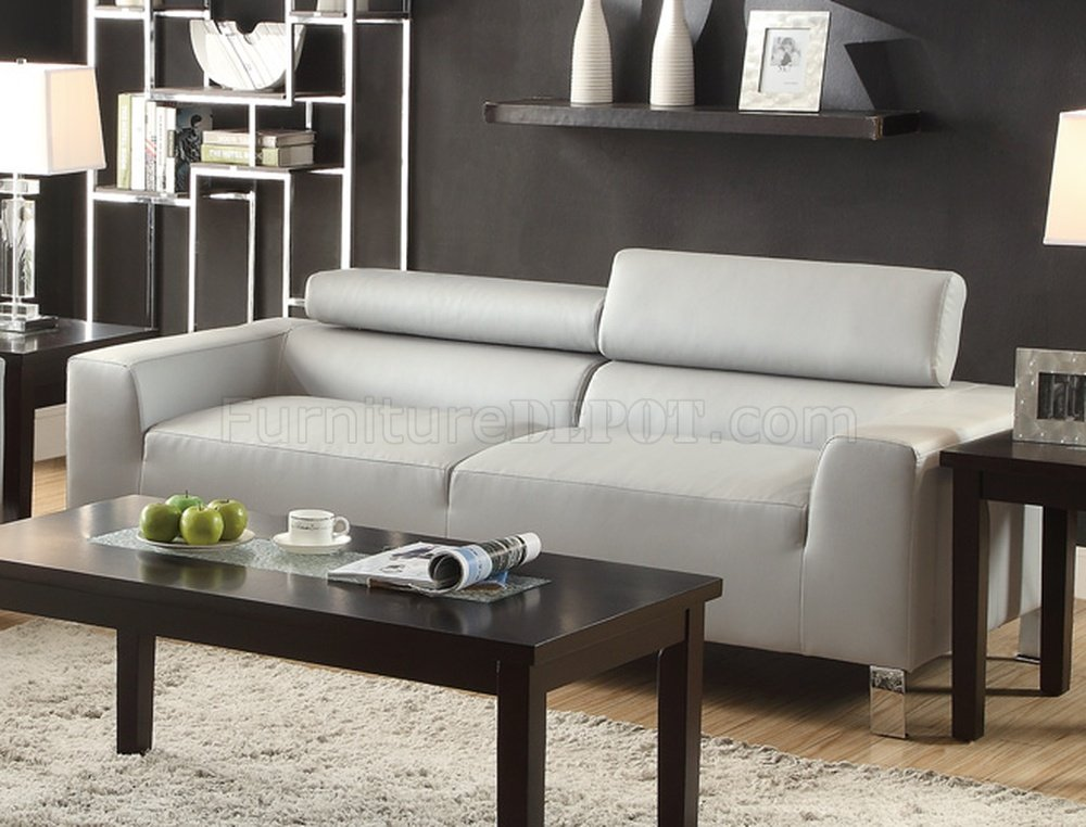 F7265 Sofa Amp Loveseat Set Light Grey Bonded Leather By Poundex