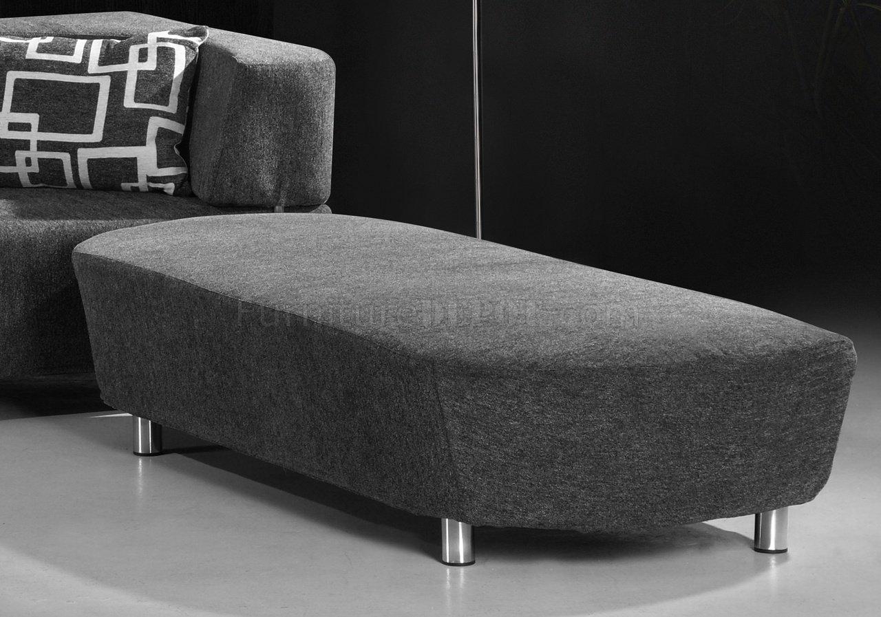 Grey Microfiber Convertible Sectional Sofa Bed W Ottoman Bench