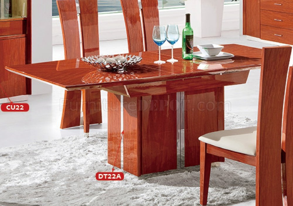 DT22A Dining Table In Cherry High Gloss By Pantek WOptions