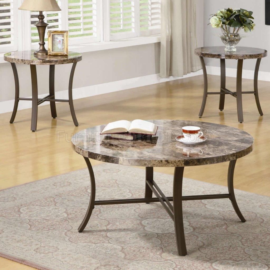 metal base modern 3pc coffee table set