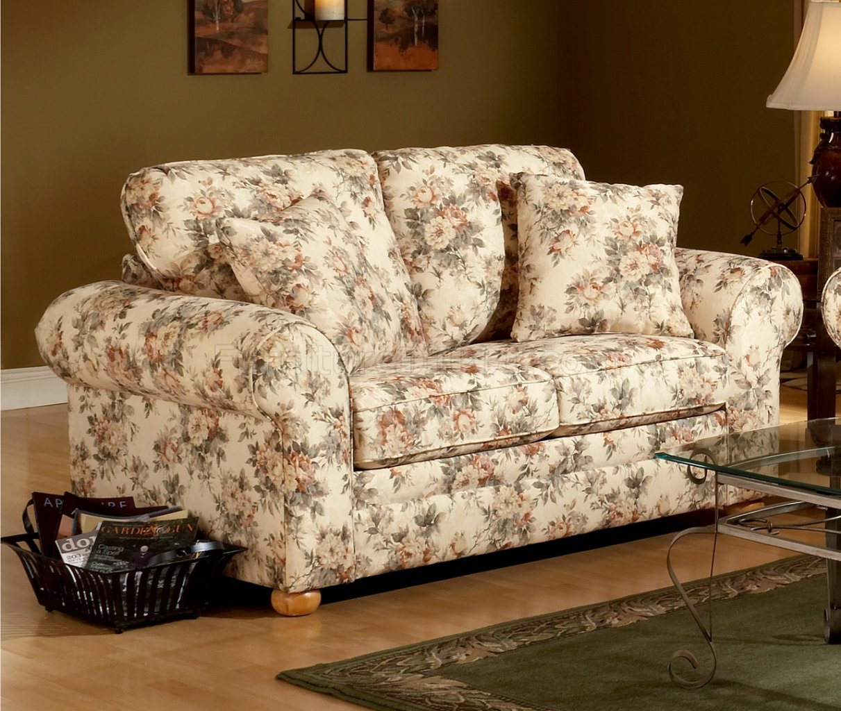 Floral Pattern Fabric Traditional Sofa Amp Loveseat Set