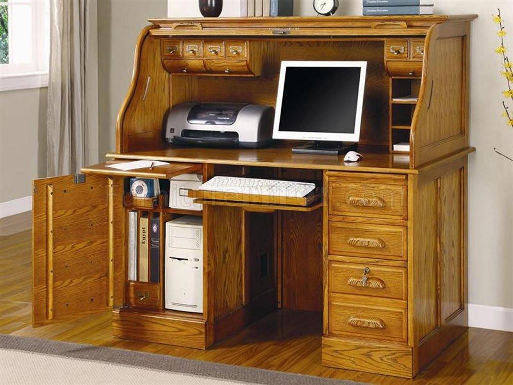 Deluxe Oak Finish Roll Top Stylish Computer Desk