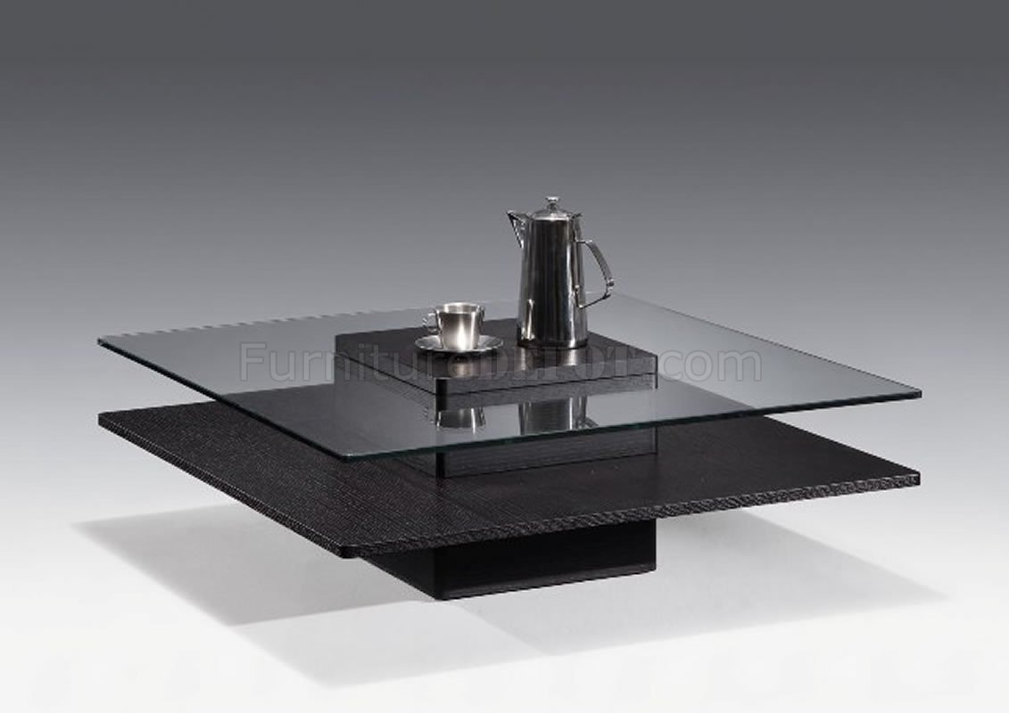 Wenge Finish Contemporary Coffee Table W Square Glass Top