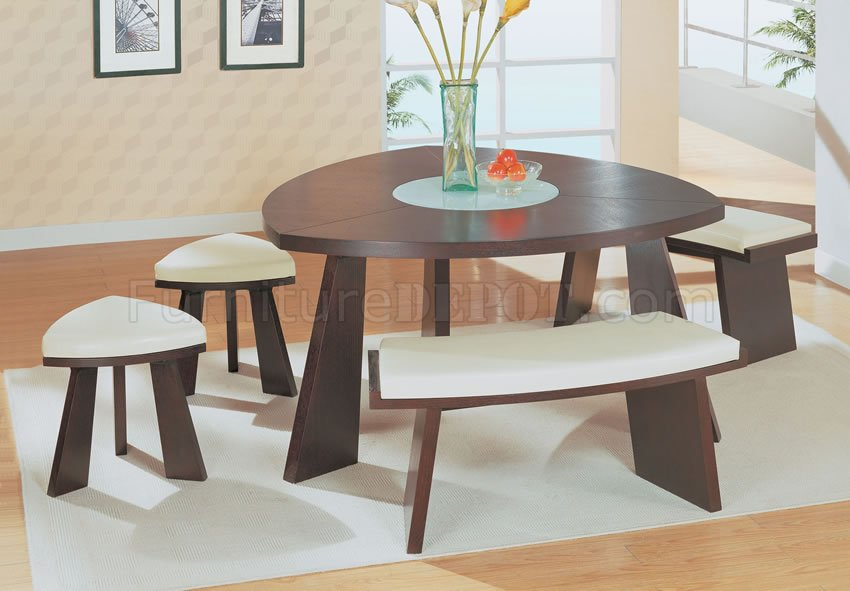 Modern Dinette Set With Triangle Dark Chocolate Finish Top