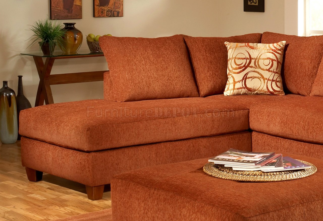 Terracotta Fabric Modern Sectional Sofa WOptional Ottoman