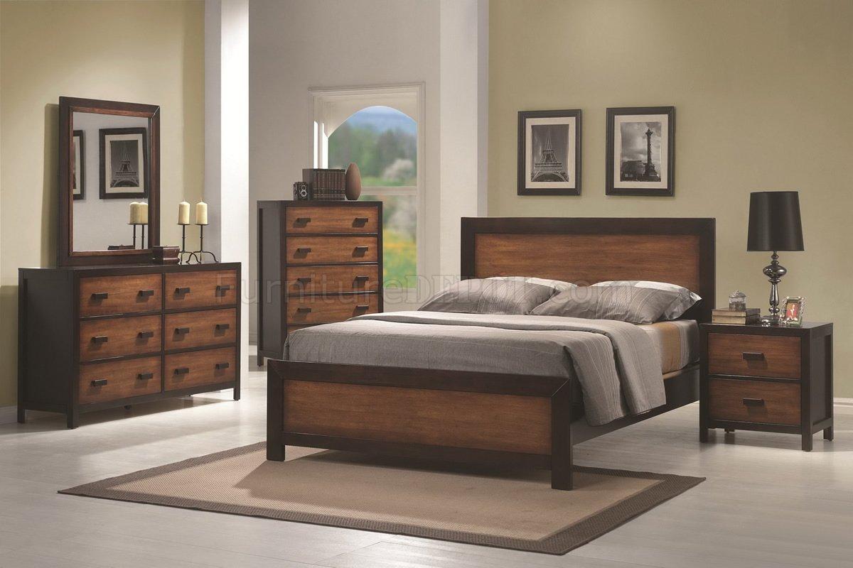 Oak Amp Cappuccino Two Tone Finish Contemporary Bedroom W