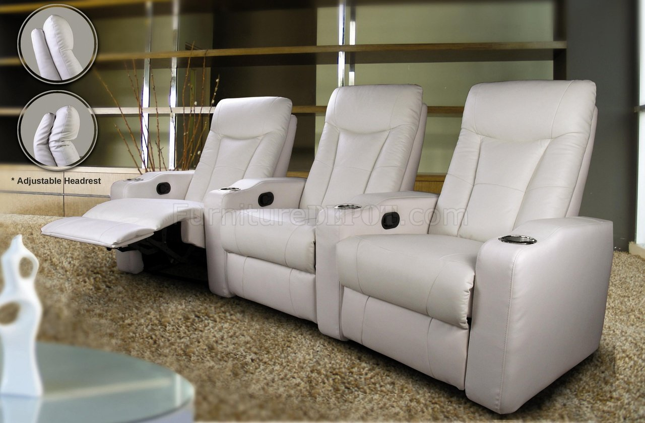 White Leatherette Home Theater Recliners WAdjustable Headrests