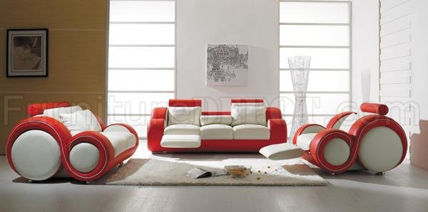 3 Piece Stylish Modern Leather Living Room Set T27 Red And