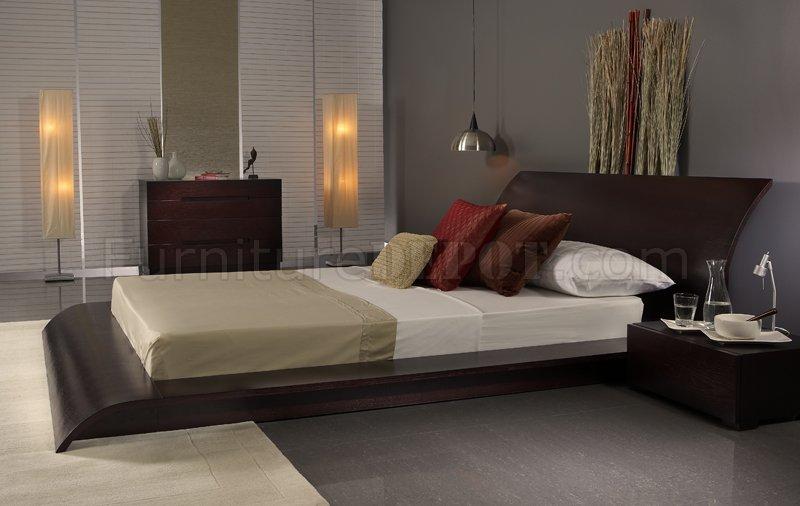 wenge finish modern 3pc bedroom set w