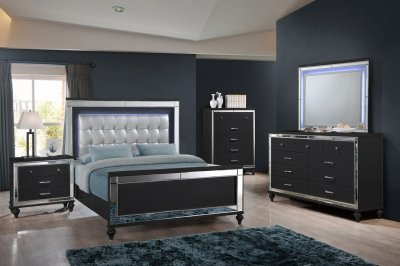 Valentino Bedroom Set 5Pc B9698B In Black By NCFurniture