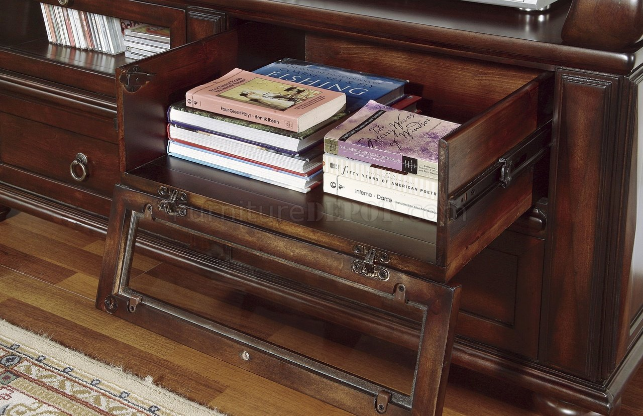 Rich Brown Cherry Finish Traditional TV Stand WPull Out