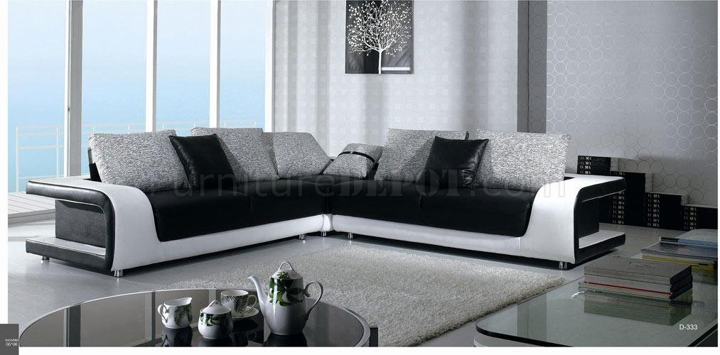 white leather and fabric sectional sofa