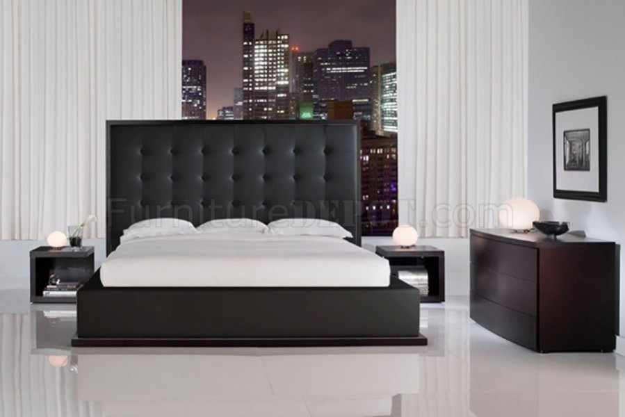 Black Full Leather Ludlow Bed with Tufted Oversized Headboard