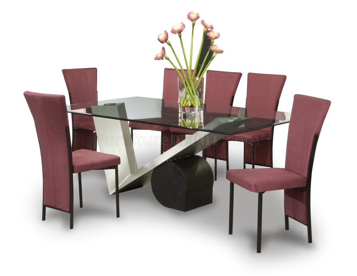 Glass Top & V Base Modern Dining Tabe w/Optional Chairs