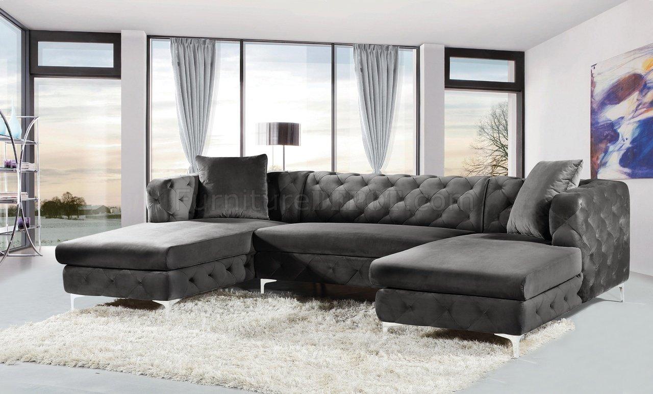 gail sectional sofa 664 in grey velvet