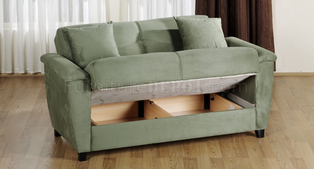 Sage Microfiber Fabric Living Room Storage Sleeper Sofa