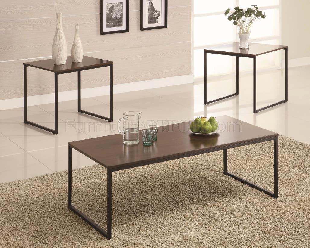 Black Metal Base Brown Wood Top Modern 3pc Coffee Table Set