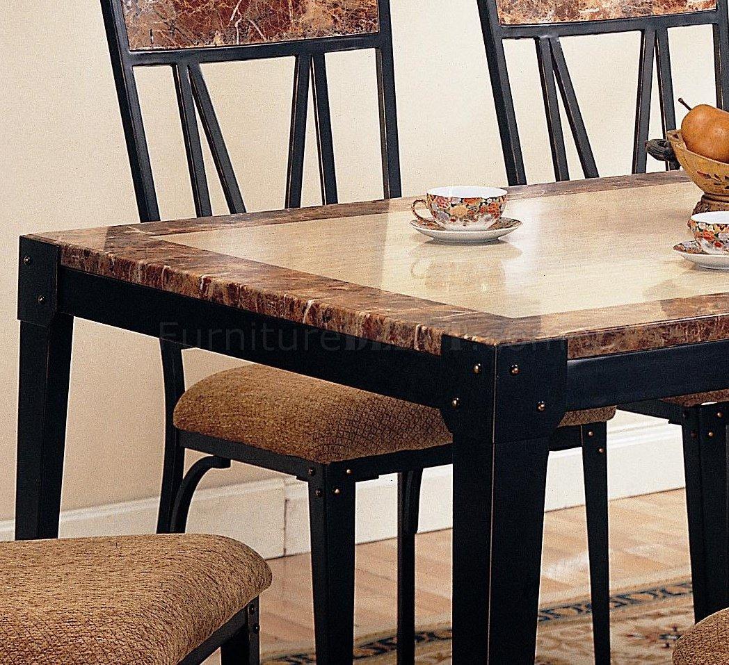 Black Metal Base Amp Faux Marble Top Modern 5Pc Dining Set