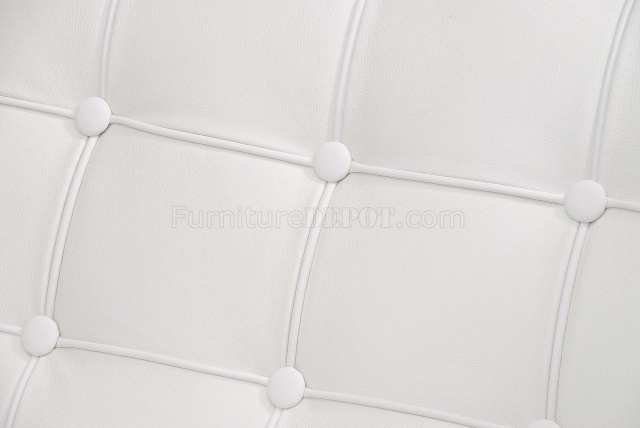 White Button Tufted Full Leather Modern Living Room Sofa