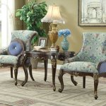Ameena Accent Chair 50845 In Floral Periwinkle Fabric By Acme