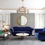 Darcy Sofa Loveseat Set In Navy Blue Velvet Fabric