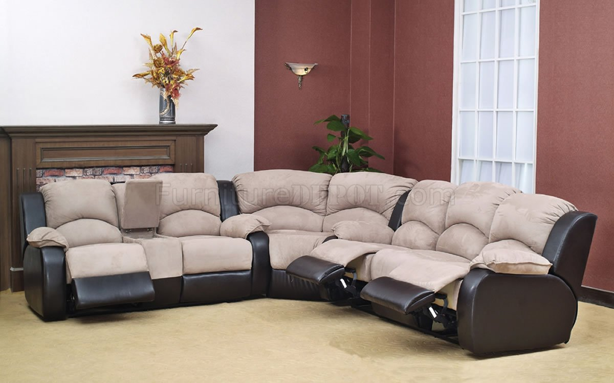 bycast modern reclining sectional sofa