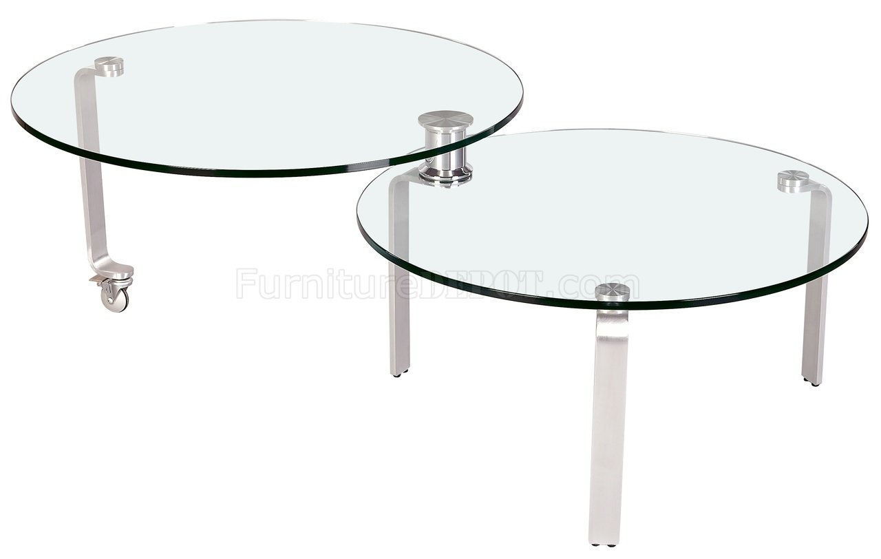 Clear Glass Top Motion Cocktail Table By Chintaly