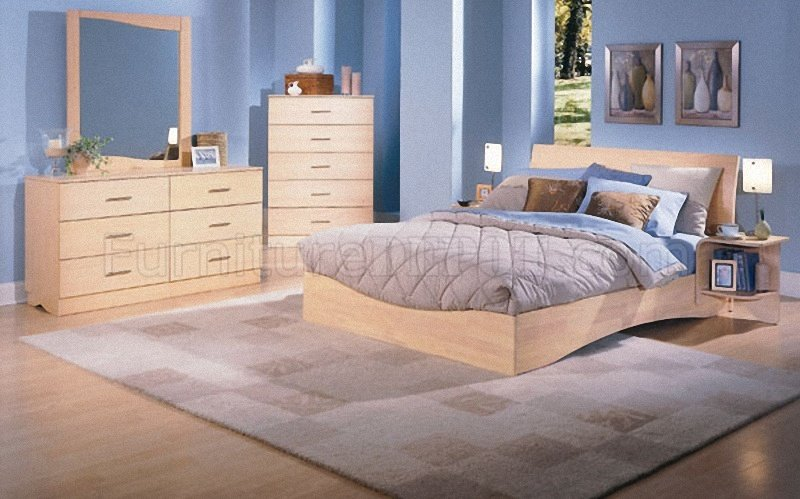 Natural Wood Finish Modern Platform Bed WOptional Case Pieces