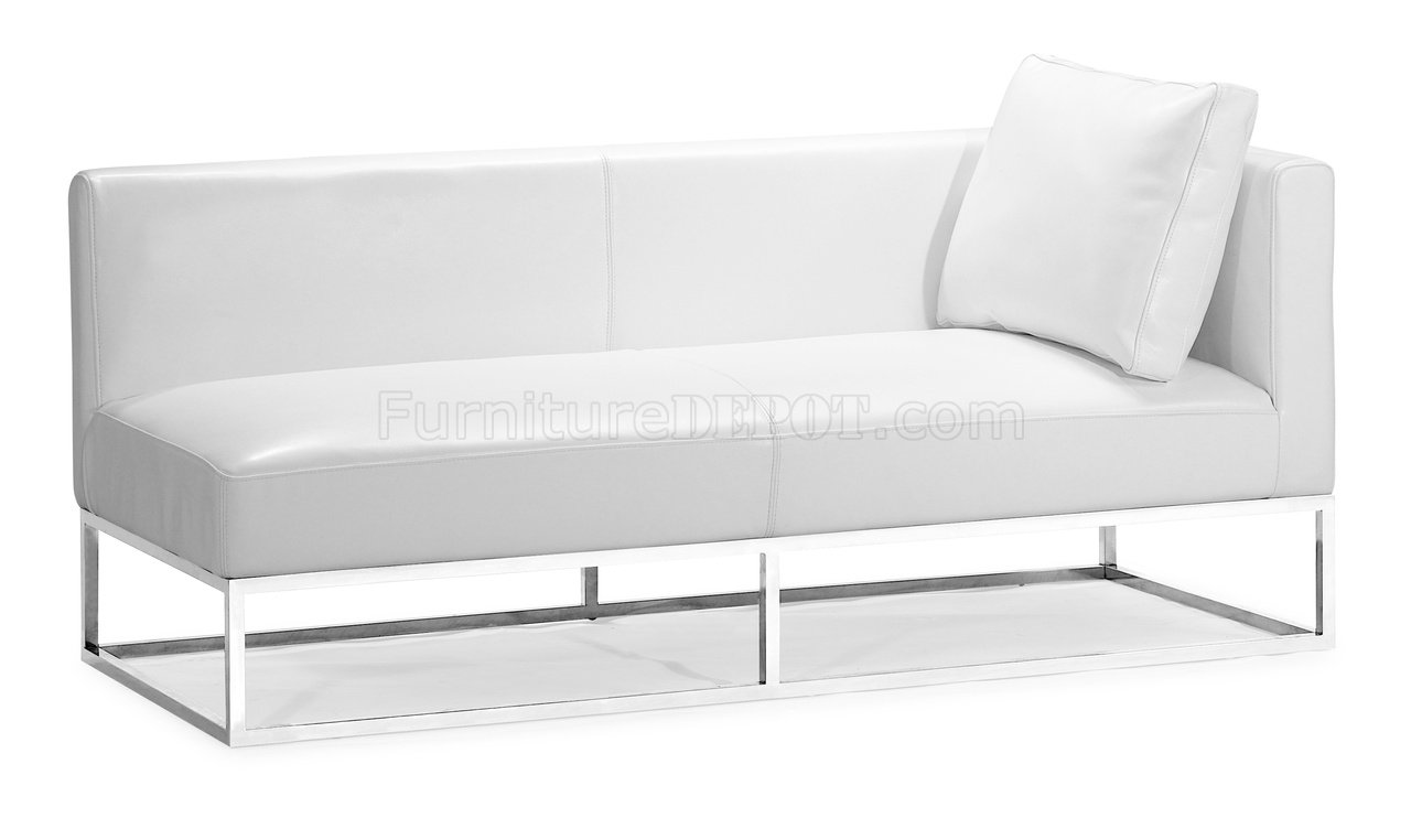 white bycast leather contemporary bench