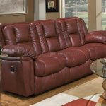 Burgundy Leather Transitional Living Room W Recliner Mechanism