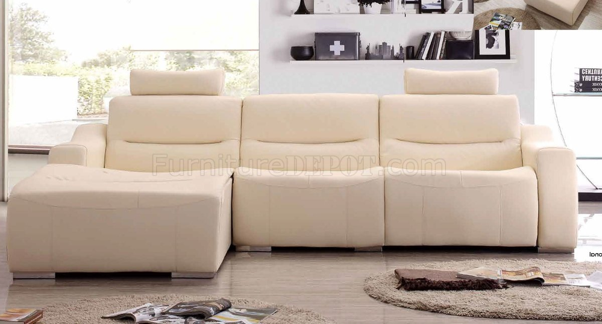 White Leather 2143 Modern Reclining Sectional Sofa By Esf : white leather reclining sectional - Sectionals, Sofas & Couches