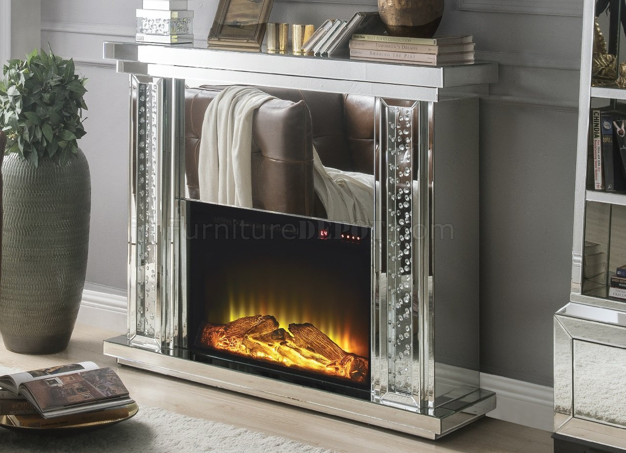 Nysa Fireplace 90254 In Mirror By Acme WAdjustable Temperature