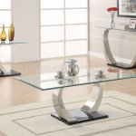 Glass Top Curved Metal Legs Coffee Table 3pc Set W Options