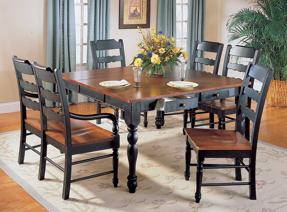 Hand Distressed Black Antique Cherry Dinette Table W Options