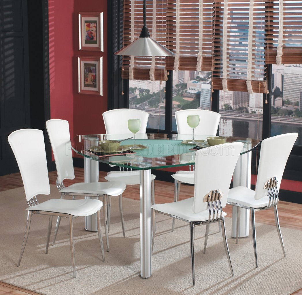 triangle glass top modern dining set