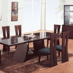 Brown Zebrano High Gloss Finish Contemporary Dining Room
