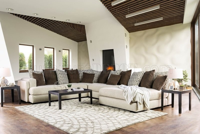 Giuliana Sectional Sofa SM5180 In Cream Amp Brown WOptions