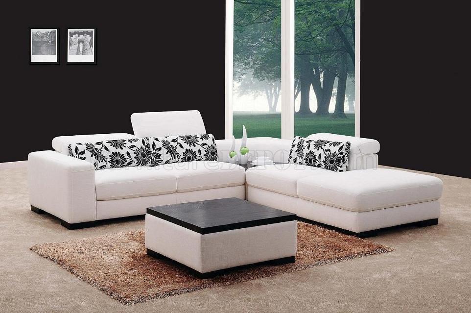 white fabric modern sectional sofa w