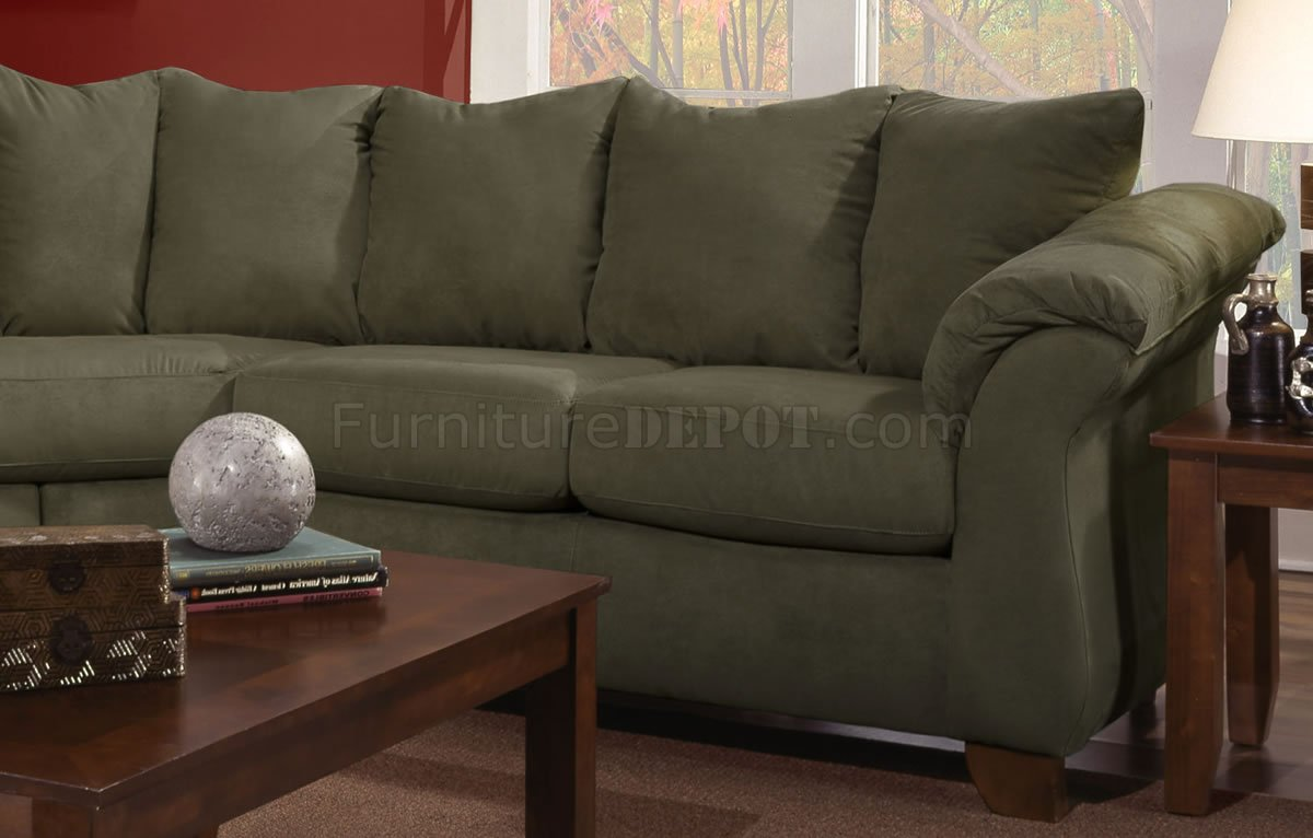 Olive Microfiber Modern Sectional Sofa WOptional Items
